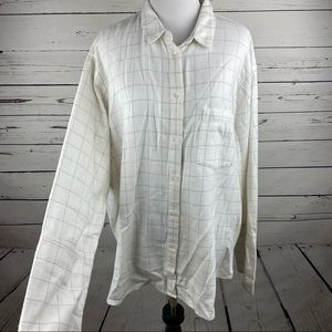 Madewell Shirt Women's Large Plaid White Button Up